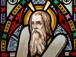 Moses on stained glass