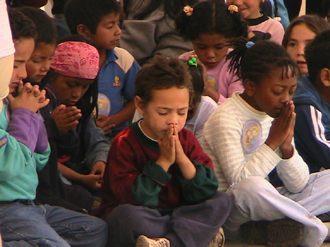 Youngsters praying at a Miami church