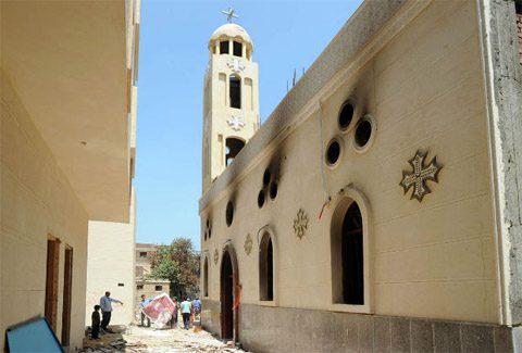 A burned out Coptic church