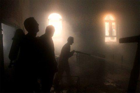 Church members sift through the rubble