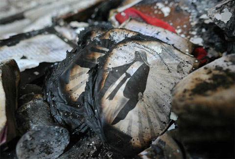 A burned image of the Virgin Mary