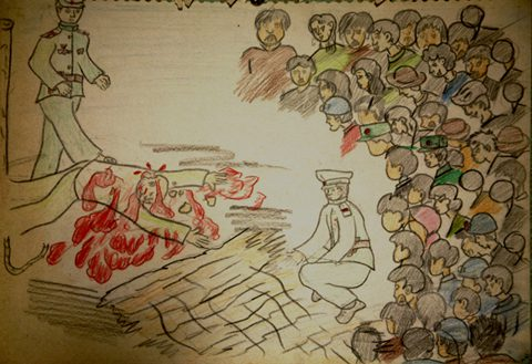 A North Korean child's drawing of public executions