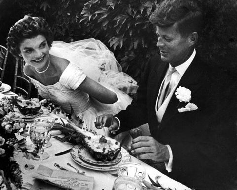 Newlyweds Jack and Jackie Kennedy