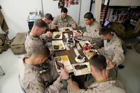 3/7 Marines bond during Thanksgiving