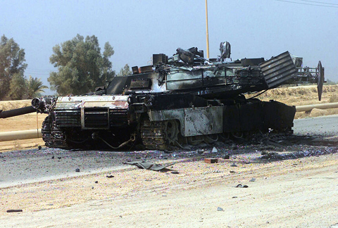 A burned-out U.S. tank (photo courtesy U.S. Army)