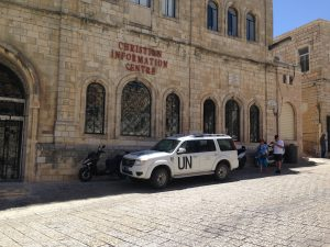 The anti-Semitic UN monitors Israeli activity from Jerusalem's Old City.