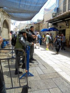 Israeli soldiers stand guard in Jerusalem's Old City.