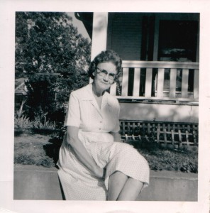 Grandma in front of the Birmingham house