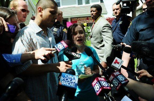 Beth Berry Serrano, the sister of Amanda Berry, speaks to the press after Amanda arrived at her home May 8, 2013