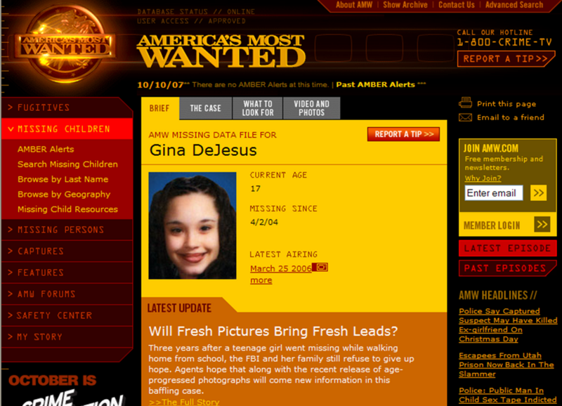 "Gina and Amanda were featured often on ""America's Most Wanted:"