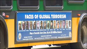 Faces of Global Terrorism on side of bus