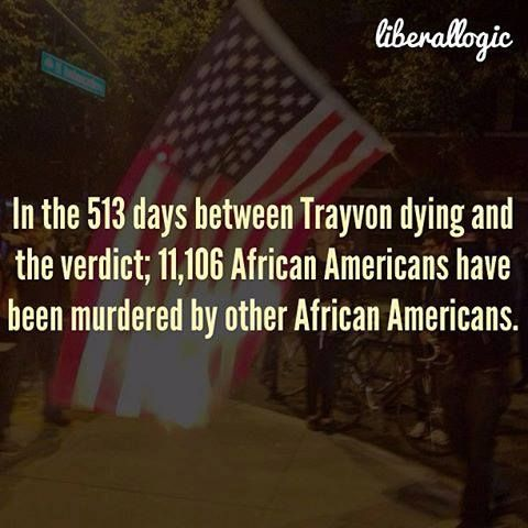 """11,106 African American murdered in 513 days between Trayvon's dying and the verdict of """"Not Guilty"""" for George Zimmerman.  Al Shapton and Obama say nothing. Attorney General Eric Holder hasn't set up a government web site for information about one of these murders!  Why single out George Zimmerman?"""