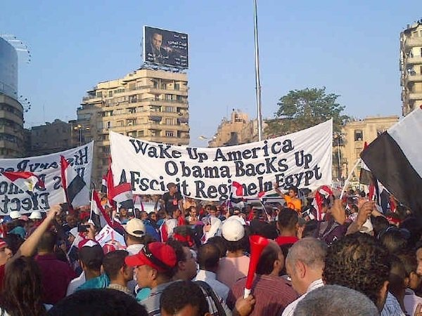 Anti-Obama Signs from Anti-Mubarak Protest in Egypt