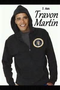 Obama in Hoodie - I am travon Martin
