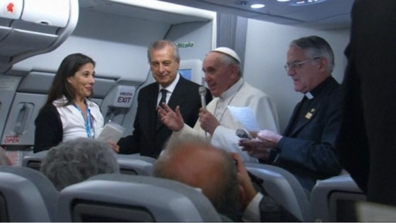 Pope Francis addressed reporters aboard the Papal plane, July 29, 2013