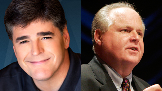 #2 in ratings of all conservative talk shows, Sean Hannity (left) #1 in ratings is Rush Limbaugh (Right)