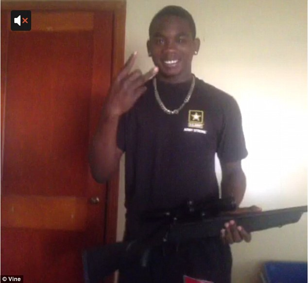 Bragging on social media - A Vine video of James Edwards brandishing a shot gun and making a gang sign