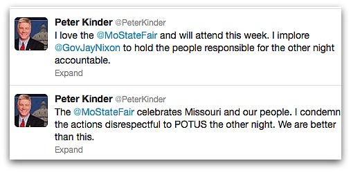 Missouri Lt Gov tweets condemnation