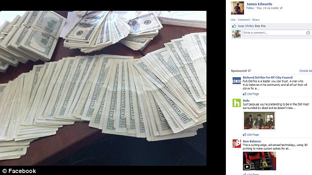 Money - Pictures of bundles of hundred dollar notes are also posted on his Facebook