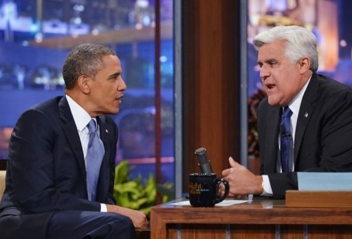 The Tonight Show - US President Barack Hussein Obama (left) chats with TV host Jay Leno in Burbank California August 6 2013