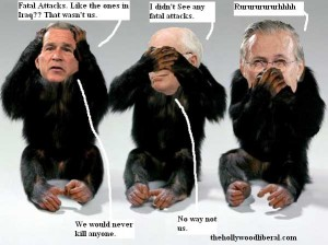 Bush, Cheney, Rumsfeld all made to look like monkies. Did anyone get banned for life?