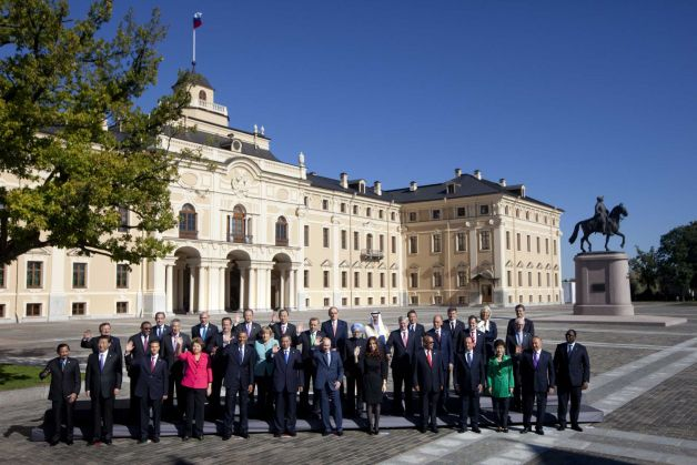 G20 Leaders in front of Konstantin Palace in St. Petersburg, Russia on Friday, Sept. 6, 2013