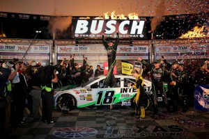 Kyle Busch drove the #18 Interstate Batteries car to Victory Lane NASCAR Sprint Cup at the Texas Motor Speedway NRA 500 on April 13, 2013 (Photo courtesy of NASCAR Media)