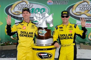 Jason Ratcliff (left) and Matt Kenseth (right) pose with the Quaker State 400 trophy at Kentucky Speedway on June 30, 2013. (Photo courtesy of NASCARMedia.com)
