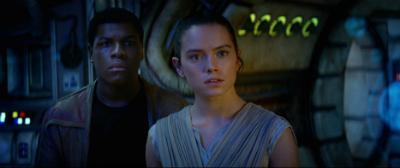"Finn (John Boyega) and Rey (Daisy Ridley) in ""Star Wars: The Force Awakens"" (Lucasfilm/Disney)"