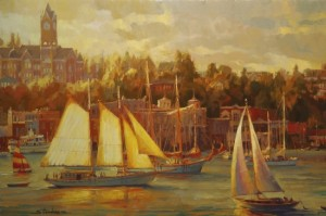 """Normal"" changes as time goes by, and what we accepted 10 years ago is strange today. Harbor Faire, original oil painting by Steve Henderson."