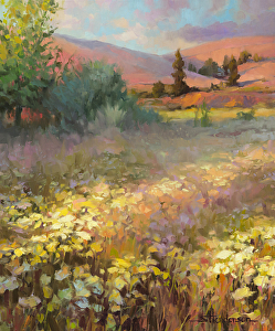 Our Great Shepherd leads each of us to the field where we need to be. Field of Dreams, original oil painting by Steve Henderson Fine Art.