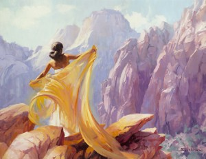 When we walk with God, it's important to get outside, away from walls on each side. Dream Catcher, original oil painting and licensed open edition print by Steve Henderson.