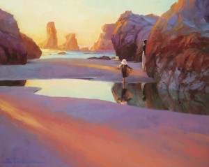 Difficult questions aren't answered quickly, but require a lot of reflection, study, prayer, and thought. Reflection, original oil painting by Steve Henderson; licensed open edition print at Great Big Canvas.