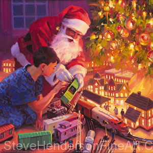 Boys and Their Trains, original oil painting of Santa by Steve Henderson