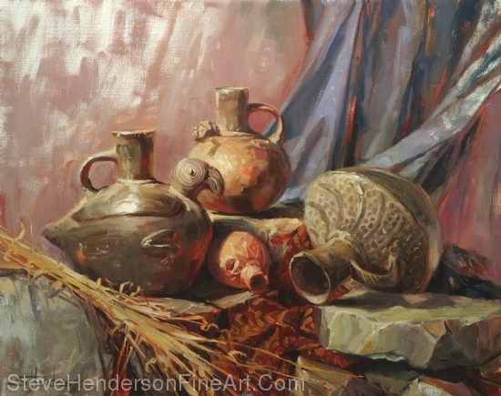 Chimu original oil painting of peruvian pottery by Steve Henderson