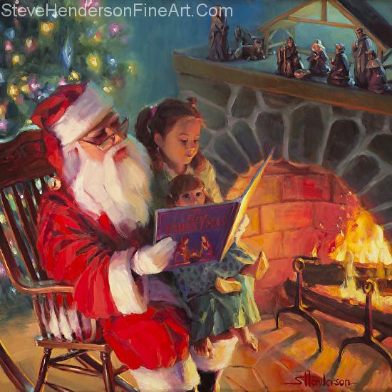Christmas Story original Santa painting and licensed print by Steve Henderson
