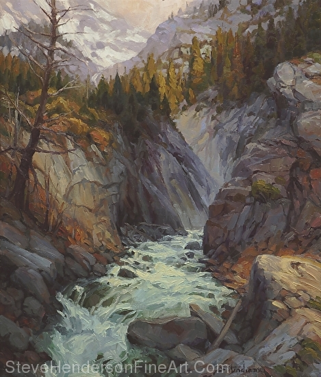 Hurricane River original painting of river running through mountains by Steve Henderson