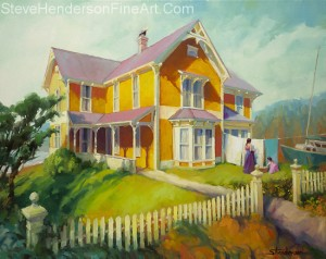 Sophie and Rose original victorian house oil painting by Steve Henderson