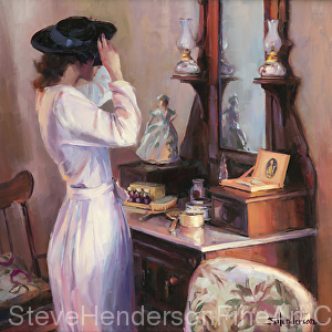 The New Hat 1940s nostalgia woman in front of old fashioned dresser mirror oil painting by Steve Henderson