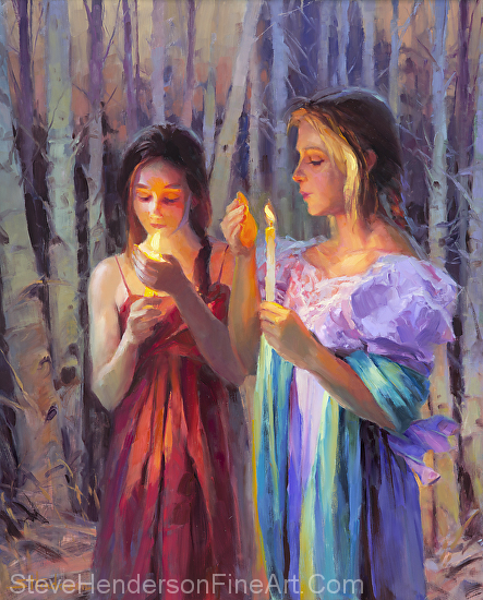Light in the Forest inspirational oil painting two women girls with candles Celtic in woods by Steve Henderson