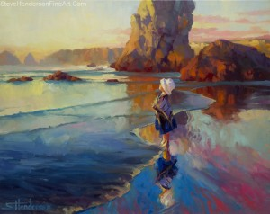 Bold Innocence oil painting of child standing on ocean beach at sunset by Steve Henderson