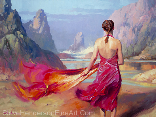 Cadence inspirational original oil painting of woman in pink dress on rocky beach by Steve Henderson