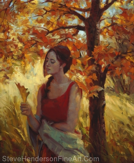 Contemplation, oil painting of girl thinking in autumn by Steve Henderson