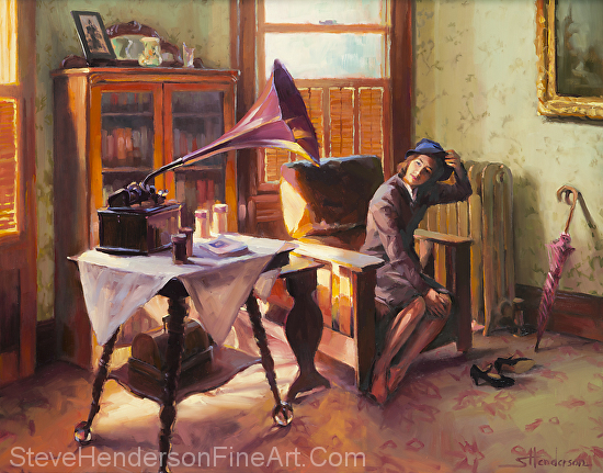 Ending the Day on a Good Note original oil painting with 1940s inspirational girl taking off hat next to gramophone by Steve Henderson