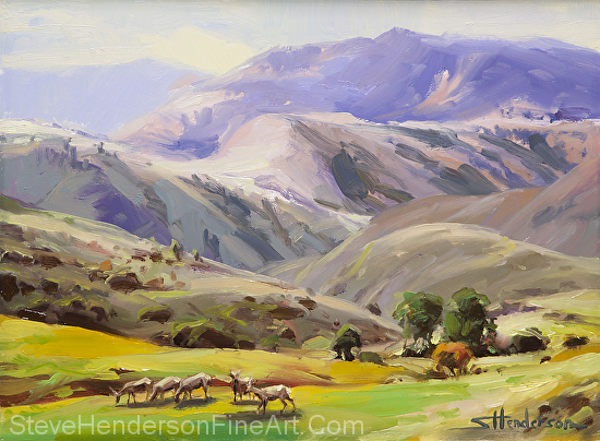 Grazing in the Salmon River Mountains inspirational oil painting of deer in meadow by Steve Henderson