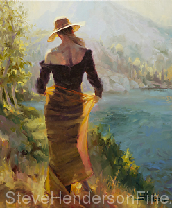 Lady of the Lake inspirational oil painting woman by mountain lake in gold fabric skirt by Steve Henderson