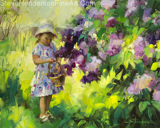 Lilac Festival inspirational oil painting of toddler girl with hat and dress picking flowers in the garden by Steve Henderson