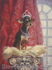 Ruby inspirational oil painting chihuahua dog on pillow by Steve Henderson