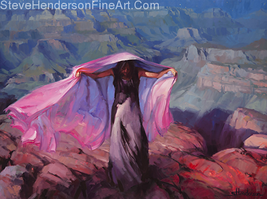 She Danced by the Light of the Moon woman girl with cloth by Grand Canyon inspirational original oil painting by Steve Henderson