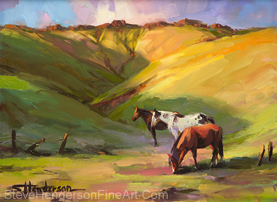 Three Horses inspirational oil painting of grazing in the mountains by Steve Henderson